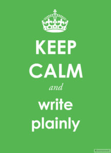 Image, Keep Calm and write plainly.